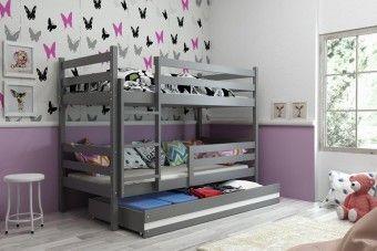 Dětská patrová postel Erika  šedá 190x80cm