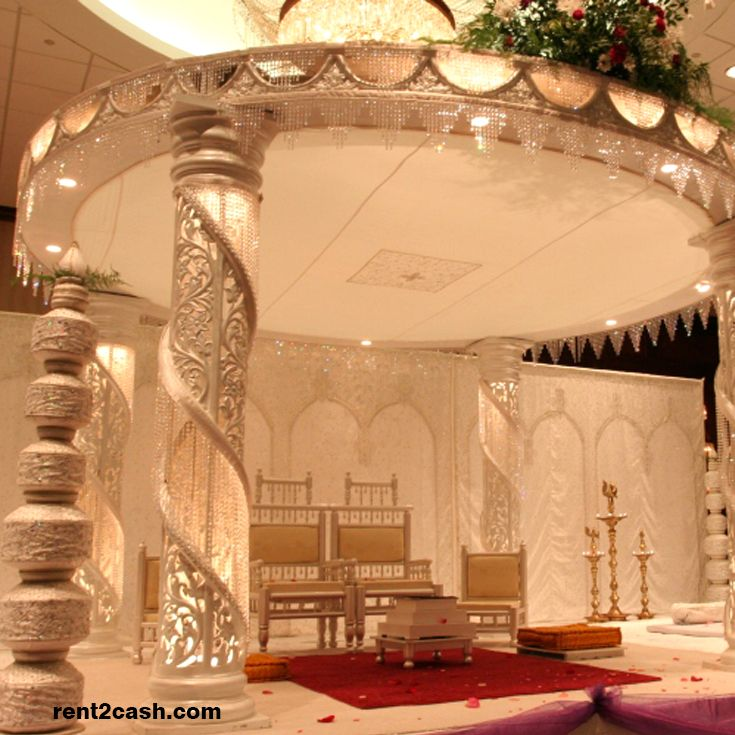 Indian Wedding decor gives me life! Amazing Mandap with Crystals and  pillars for the Indian Bride! Find this Pin and more on Hire a Decorator ...