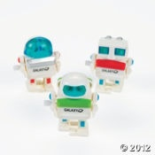 Robot party favors from Oriental Trading