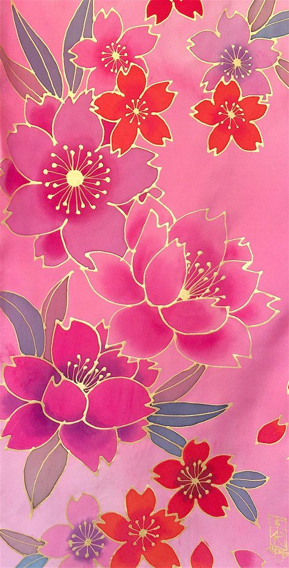 Art Scarf Fall Fashion Scarf Pink Silk Scarf Reversible