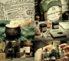 Hogwarts subjects | Potions  Potions is a core class and subject taught at Hogwarts School of Witchcraft and Wizardry. In this class students learn the correct way to brew potions. They follow specific recipes and using various magical ingredients to create the potions, starting with simple ones first and moving to more advanced ones as they progress in knowledge. A standard potions kit includes plant ingredients such as Belladonna and supplies such as glass phials and weighing scales.