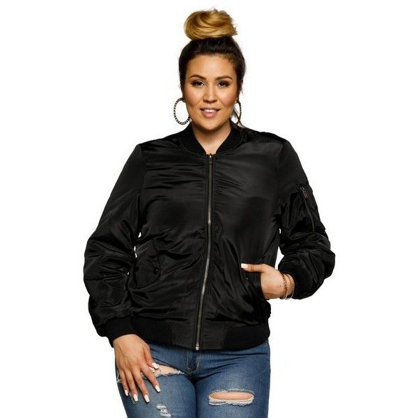 Women's Xehar Womens Plus Size Classic Zip Up Bomber Jacket ($38) ❤ liked on Polyvore featuring plus size women's fashion, plus size clothing, plus size outerwear, plus size jackets, black, flight jackets, zip up jackets, bomber style jacket and blouson jacket