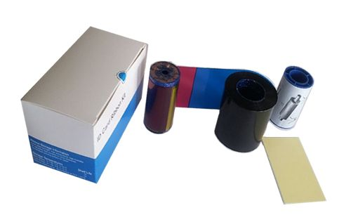 YMCKT Go Green Card Printer Ribbon features four color ribbon with protective topcoat overlay, cleaning card and cleaning sleeve -   compatible with Datacard SP25, SP25Plus, SP35, SP35Plus, SP55, SP55Plus, SP75, SP75Plus, SD260 and SD360 printers.   This ribbon replaces Datacard 552854-204 color ribbon model. $78.75