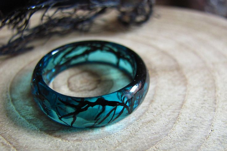"cute-thangsss: ""Mermaid Ring inspired in Ocean Natural Live. A thin faceted geometric ring made with blue pigments mixture and preserved real black Algae of Cantabrian Sea from Asturian beach in North..."