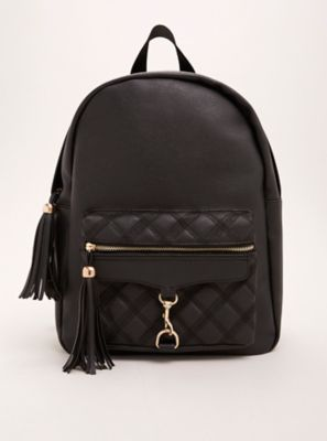 Faux Leather Quilted Backpack in Black/White