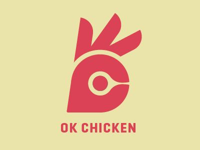 I always seem to be drawn to these very graphic logos - simple shapes that sit in perfect harmony. Clever play off the hand gesture and head of a chicken.