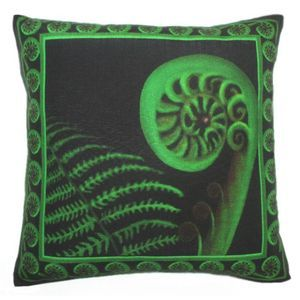 Koru Throw Pillow Cushion by Chelsea DesignNZ - a symbol of New Beginnings, New Life, Growth, Peace and Harmony. True kiwiana. New Zealand Art reproduced onto a lovely linen look and feel fabric. The perfect gift for any occasion. 45cmx45cm. Machine washable 100% polyester. Concealed zip. Cushion cover on its' own or supplied with 400gm scatter tigerfil inner.
