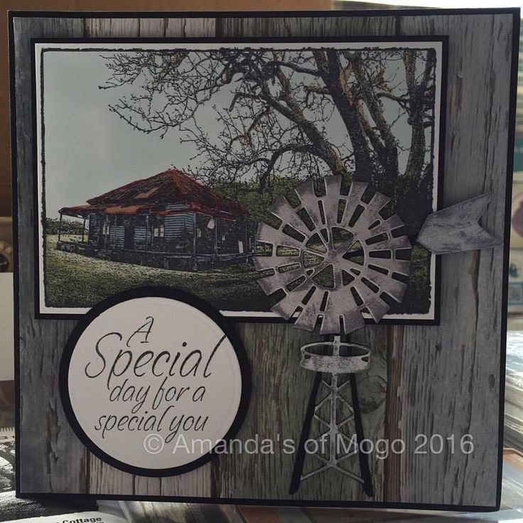 Old farm house stamped image with windmill die cut #amandasofmogo #mogo #handmade #cardmaking #darkroomdoor #oldfarmhouse #artdecocreations #windmill #diecut