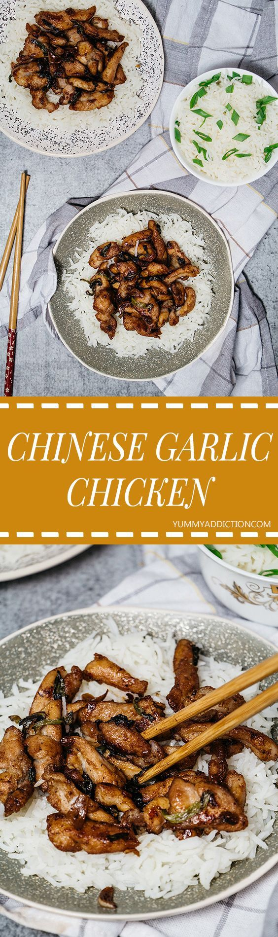 This Chinese Garlic Chicken is a homemade version of a very popular Asian takeout dish. It makes a great weeknight dinner or a party finger food! | yummyaddiction.com