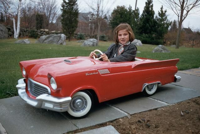 Vintage photo in 1955 Thunderbird ~ Our 'real' '55 is black, so much fun!  @Lori Cline Doherty
