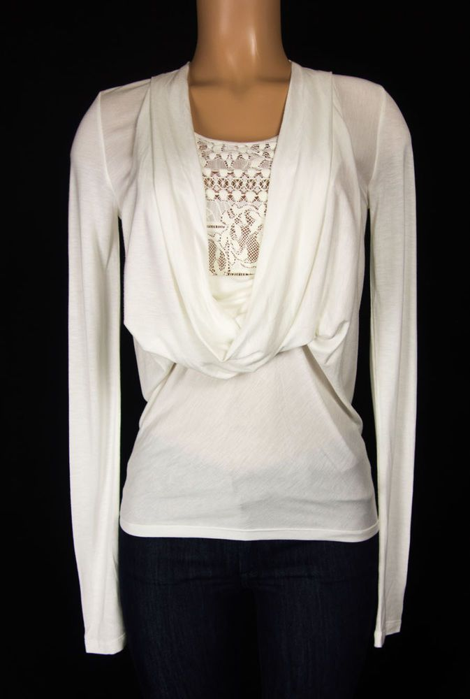 GIVENCHY PARIS Knit Top Size XS Extra Small Ivory Lace Swag Drapey Neckline  #Givenchy #KnitTop #Casual