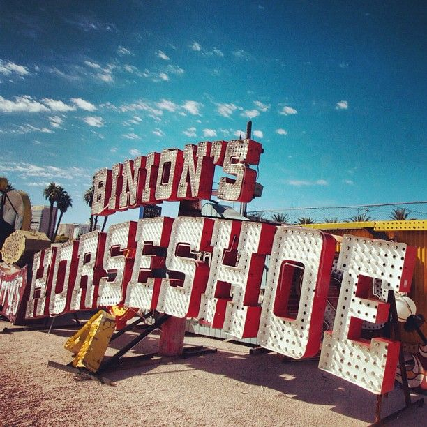 "263 Likes, 17 Comments - Corey Miller (@toomuchfire) on Instagram: ""Binion's Horseshoe - great #vintage #casino #sign at the Neon Boneyard in #lasvegas NV, USA:"""