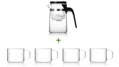 Glas Teekannen-Set: SAMADOYO Teekanne aus Glas mit Infuser-Technologie und vier Teegläser mit Henkel