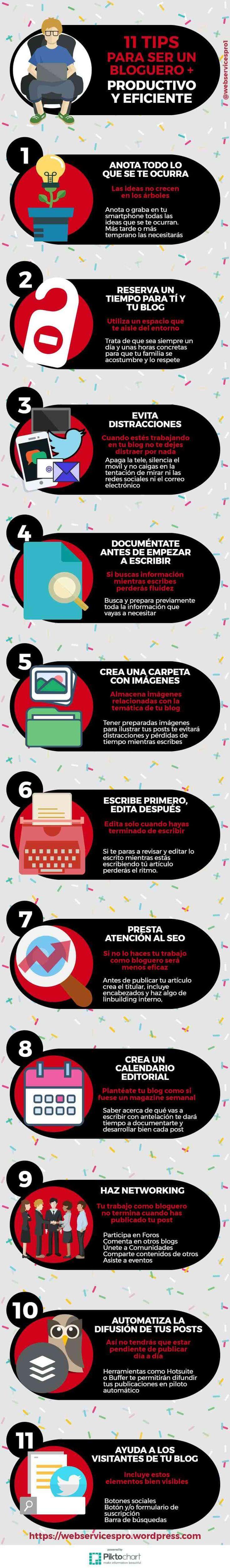11 consejos para ser un bloguero más productivo y eficiente #SocialMedia #Blogging