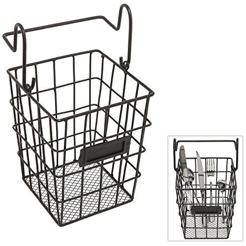 Modular Black Metal Mesh Wire Hanging Kitchen Dining Utensils Storage Basket Bathroom