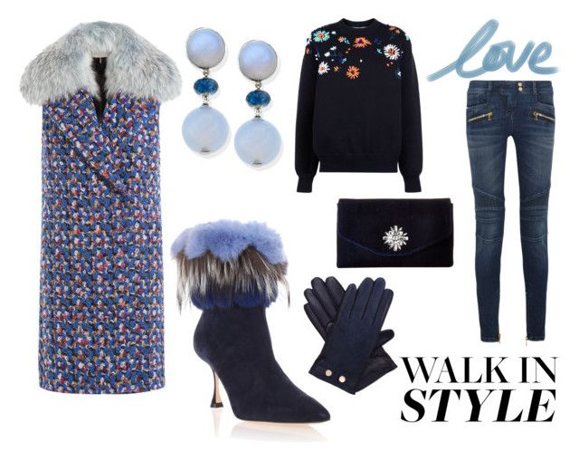 """""""Walk in Style"""" by elena-anders on Polyvore featuring Manolo Blahnik, Emilio Pucci, Ted Baker, Balmain, Victoria, Victoria Beckham and Jessica McClintock"""