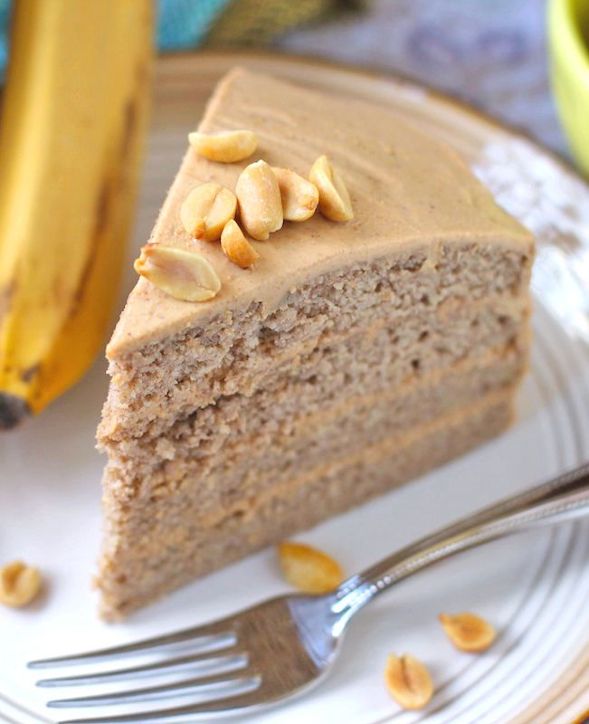 Gluten-Free Banana Cake with Peanut Butter Frosting… so moist and rich, you'd never know it's healthy, low fat and sugar free too!