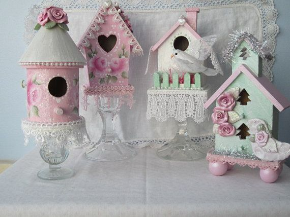 Shabby Chic Birdhouses by RoseChicFriends via Etsy #pastel #pink #Christmas