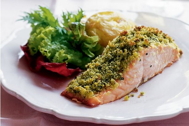 Beautiful crumbed salmon steaks are delicious with golden potatoes and a fresh green salad.