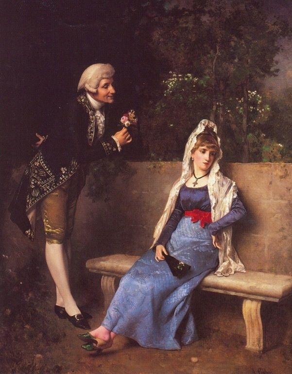 """Si deja caer el abanico, a  tiempo que pasa a su lado un joven que la ha mirado en el  paseo  significa: """"no sea Vd. timido... conozco la inclinación que tiene hacia mí... acérquese y no será mal recibido...""""-------------Antonio Gisbert"""