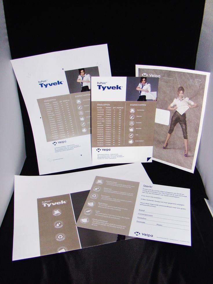 Posters, enveloppen, antwoordkaarten, assortimentskaarten ontwerp voor actie van Tyvek enveloppen, afdeling marketing Velpa.