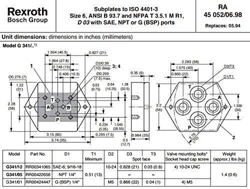 Rexroth Bosch Group G341/01 RR00424447 Hydraulic Valve Subplate, G (BSP) 1/4 #Rexroth