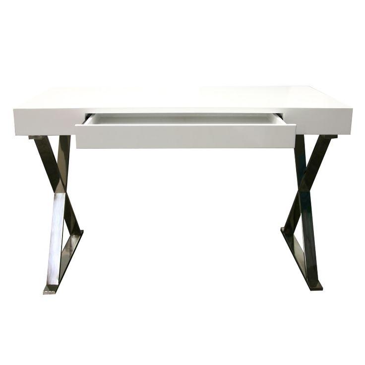 GIllar överdelen av skrivbordet. Byta ben.  Effie skrivbord vit highgloss m stålben | | Chilli.se