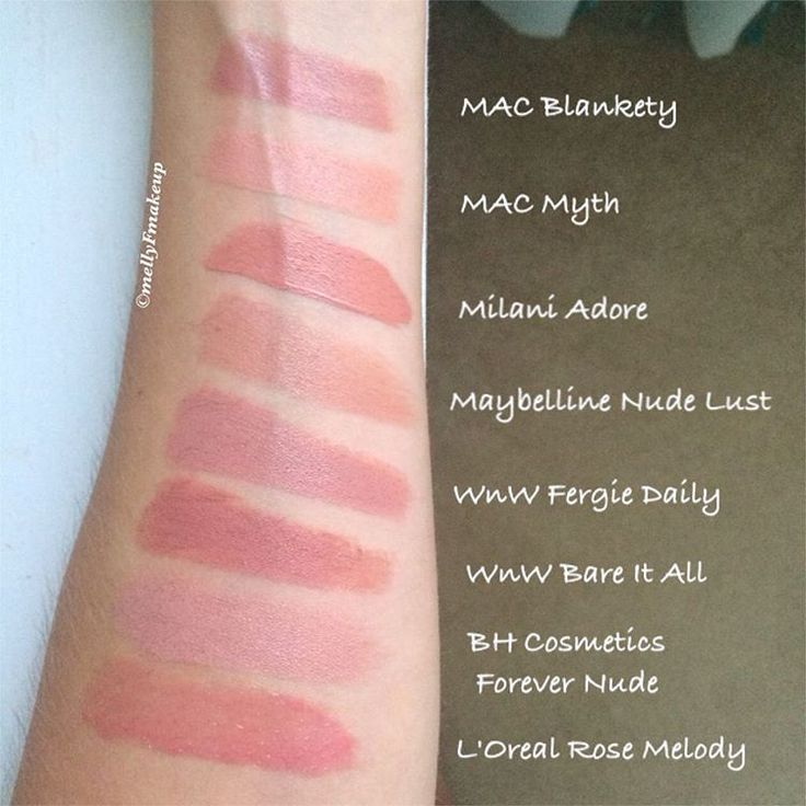 Nude lipsticks! MAC Blankety, MAC Myth, Milani Adore, Maybelline Nude  Lust, Wet n Wild Fergie Daily, Wet n Wild Bare It All, BH Cosmetics Forever Nude, L'Oreal Rose Melody. Like what you see? Follow my instagram @mellyfmakeup for more!