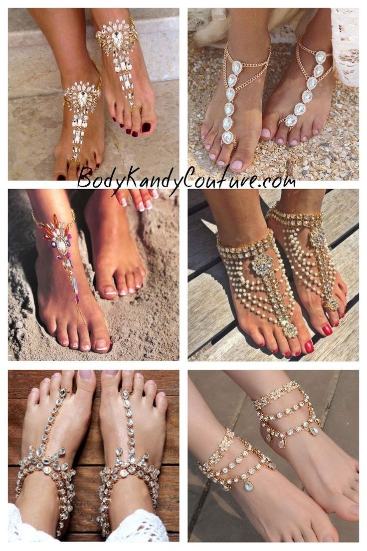 Shop Gold Barefoot Sandals for Weddings on the Beach. Gold Foot Jewelry for the Bride and Bridesmaids. Indian wedding Kundan Payal pearl Anklet with Toe Ring. Pearl beach Wedding Sandals with pearl detail. goddess Anklet with Toe Ring. Pearl Anklets. Beautiful Boho Chic Barefoot Sandals bling. Barefoot Bride wedding sandals. Vintage Bohemian Bride Accessories and ankle Foot jewelry bohemian barefoot shoes SHOP BODY KANDY COUTURE For Barefoot Sandals, Kundan Payal Anklet Wedding Ankle Foot…