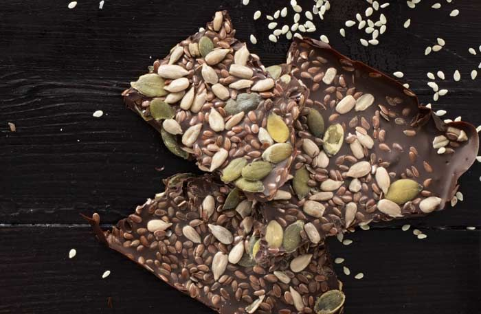Chocolate along with the nutty flavor of sunflower and pumpkin seeds are an unbeatable combo