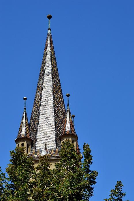 The recently restaurated (tiles replaced) Bell Tower/steeple of the Evangelical Cathedral from Sibiu, Transylvania, Romania,