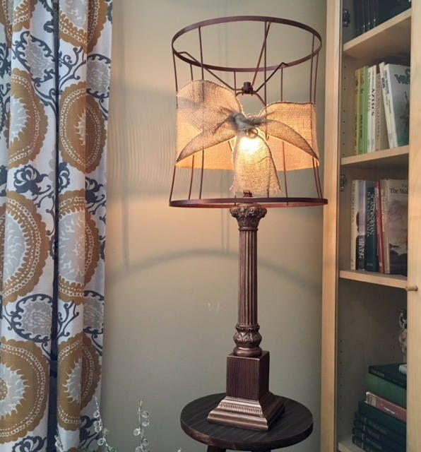 Excited to share the latest addition to my MadeAndFoundDecor #etsy shop: Vintage Copper, Wire with Burlap Ribbon Shade Table Lamp, Edison Bulb