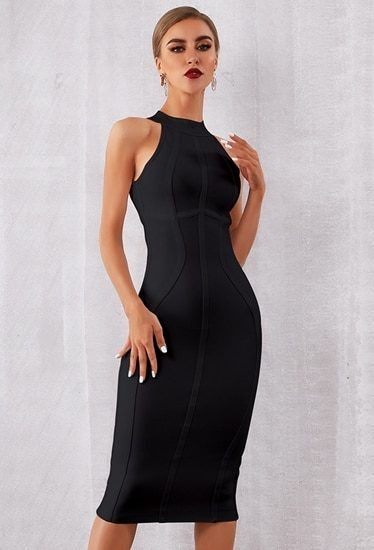 c275fb3eba03 Black Midi Dress Party Bodycon Dress perfect bodycon bandage dress for your  party Excellent quality of the fabric This dress would shape your body to  look ...