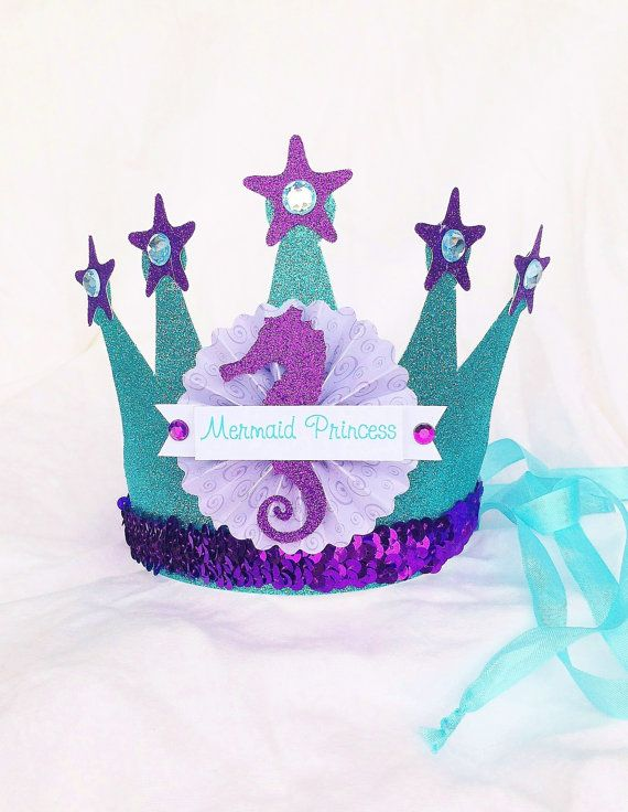 Sparkly Mermaid Princess Crown Party Hat in aqua turquiose, lavender and purple for The Little Mermiad Party