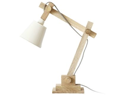 Timber Desk Lamp: Timber Desk Lamp with Round Beige Shade,Lighting