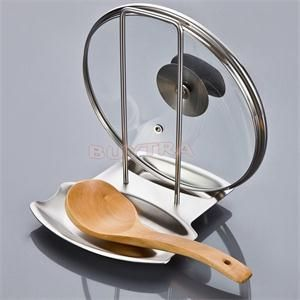1PCS New Delicate Kitchen Stainless Steel Pan Pot Rack Cover Lid Rack Stand Spoon Holder