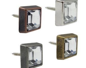 """Square Crystal Upholstery Tacks 1/2"""" Leather Tacks 50 Pack Upholstery Nails #115-"""