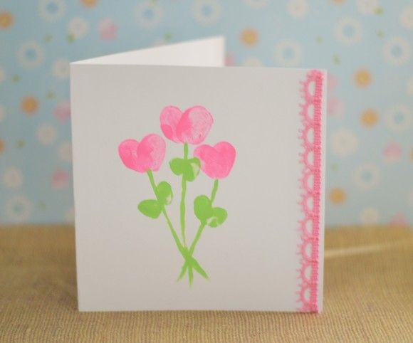 Father's Day Craft For Kids: Fingerprint Heart Bouquet