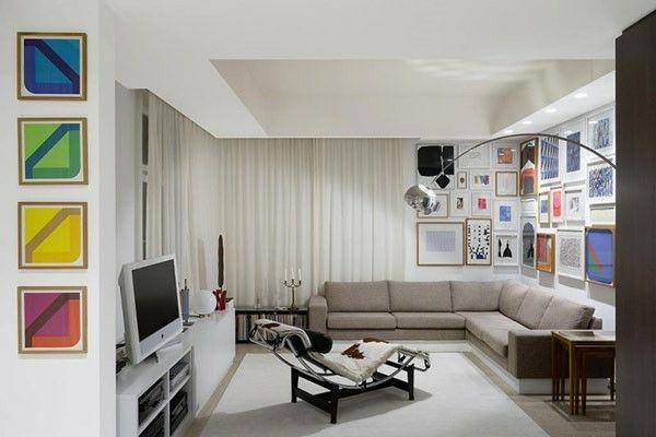 kleines wohnzimmer einrichten, farbige deko akzente
