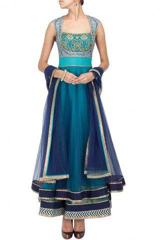Turquoise and blue shaded anarkali suit – Panache Haute Couture