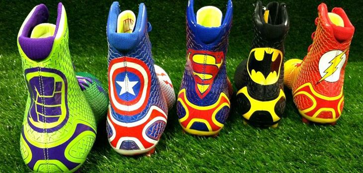 Under Armour Limited Edition Alter Ego Highlight MC Football Cleats - Transform Yourself. Designs feature The Hulk, Captain America, Superman, Batman, and The Flash. http://www.underarmour.com/shop/us/en/mens/footwear/football