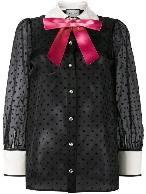 GUCCI Sheer Star Pussy Bow Blouse. #gucci #cloth #blouse