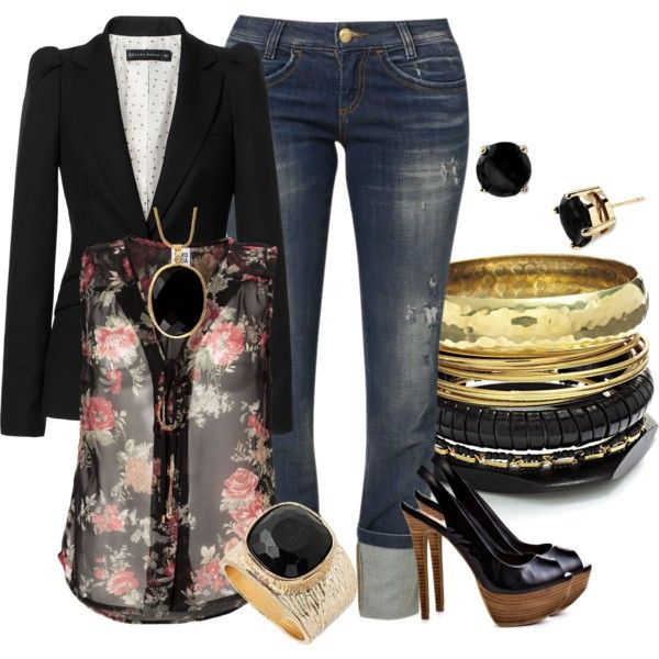 """Blazers, Jeans, and High Heels"" by hope-houston on Polyvore"