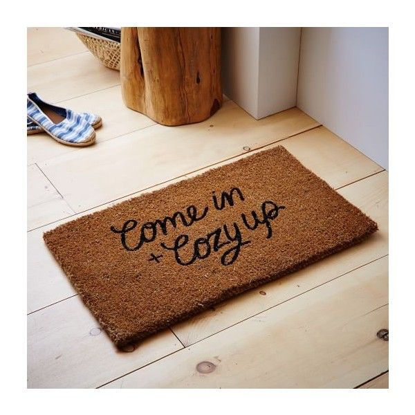 West Elm Coir Doormat, Come in and Cozy Up - Doormats & Outdoor Rugs -... ($29) via Polyvore featuring home, outdoors, outdoor decor, indoor outdoor patio rugs, woven throw rugs, indoor outdoor mats, indoor/outdoor doormat and coconut fiber door mats