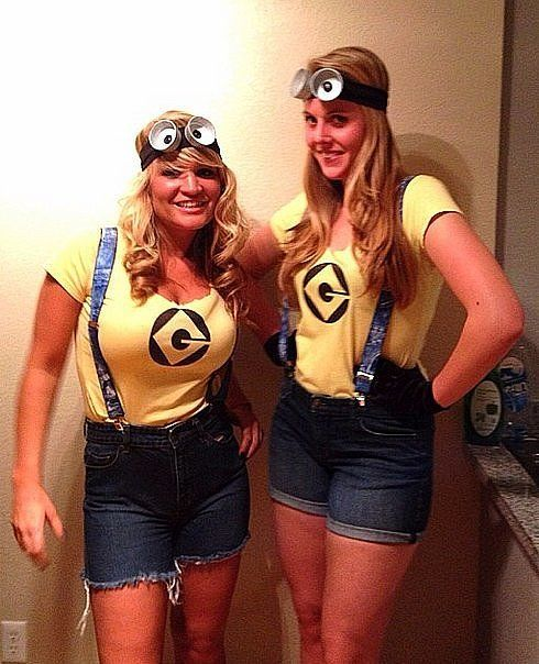 To make your own trendy Minions costume, simply wear denim overalls — or shorts with suspenders — with gogg...