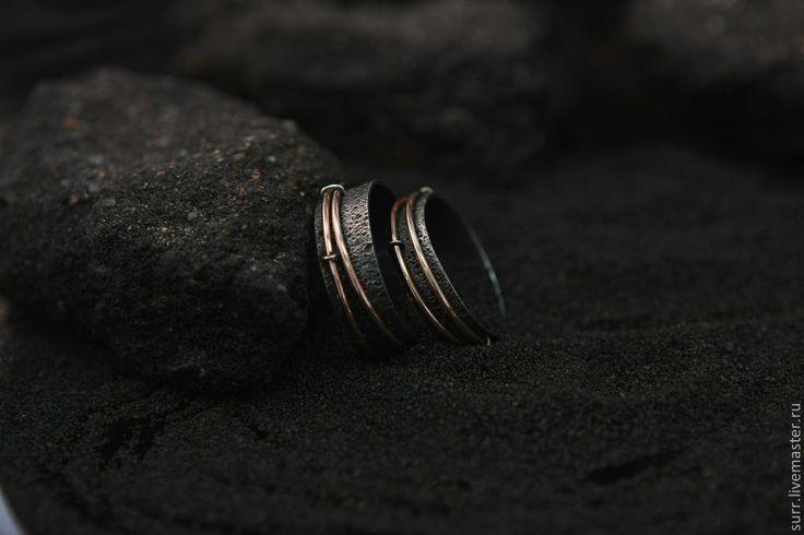"""Купить Обручальные кольца """"Движение"""" - чёрный, золото, серебро, кольца, движение, подвижные элементы"""