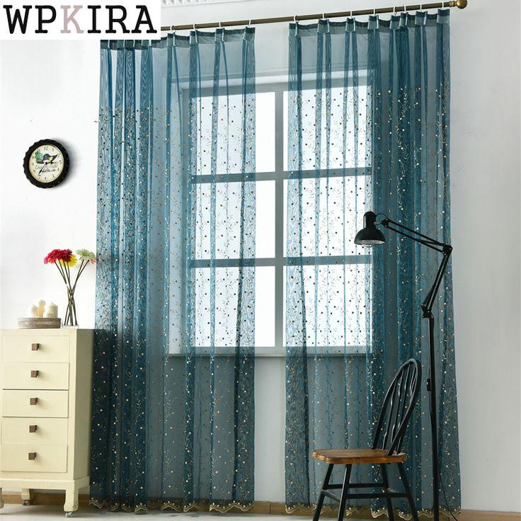 Синий вышитые Sheer Тюль занавес гостиной спальня белая вуаль шторы, ткани шторы окна 120 и 20 купить на AliExpress