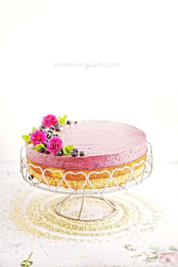 sesame & blueberry cheesecake  #cheesecake #blueberry #sesame #flowers #cake #mousse #homebaking #photo #tort #jagody #borówki #sezam #chałwa