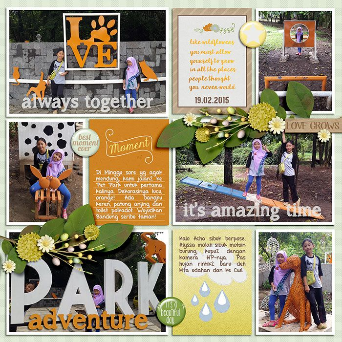 February 2015 Pet Park.  Showers To Flowers by Pixelily Designs. 365Unscripted: Stitched Grids 2 by Traci Reed.