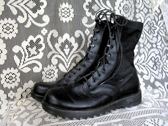 Black Jump Boots Jungle Boots Ripple Sole Military Cyber Goth Industrial Punk Grunge 80's 90's Platform Boots Quick Lace Up Mens Size 8 R